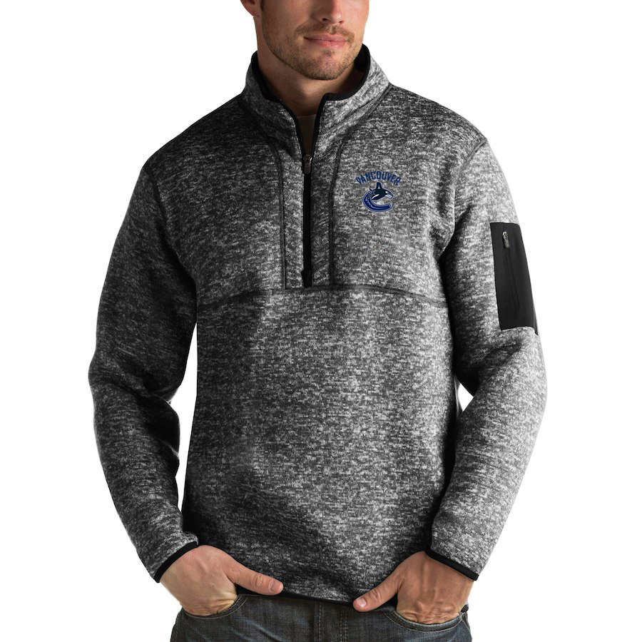 Vancouver Canucks Antigua Fortune Quarter-Zip Pullover Jacket Charcoal