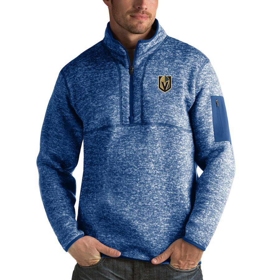Vegas Golden Knights Antigua Fortune Quarter-Zip Pullover Jacket Blue