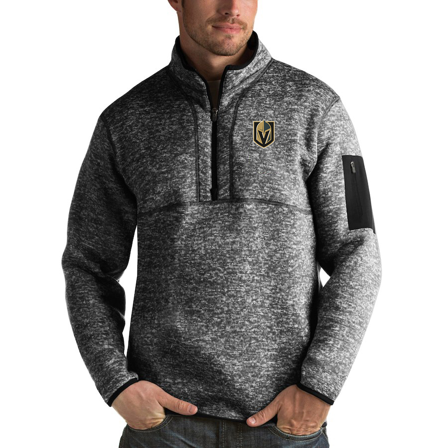 Vegas Golden Knights Antigua Fortune Quarter-Zip Pullover Jacket Charcoal