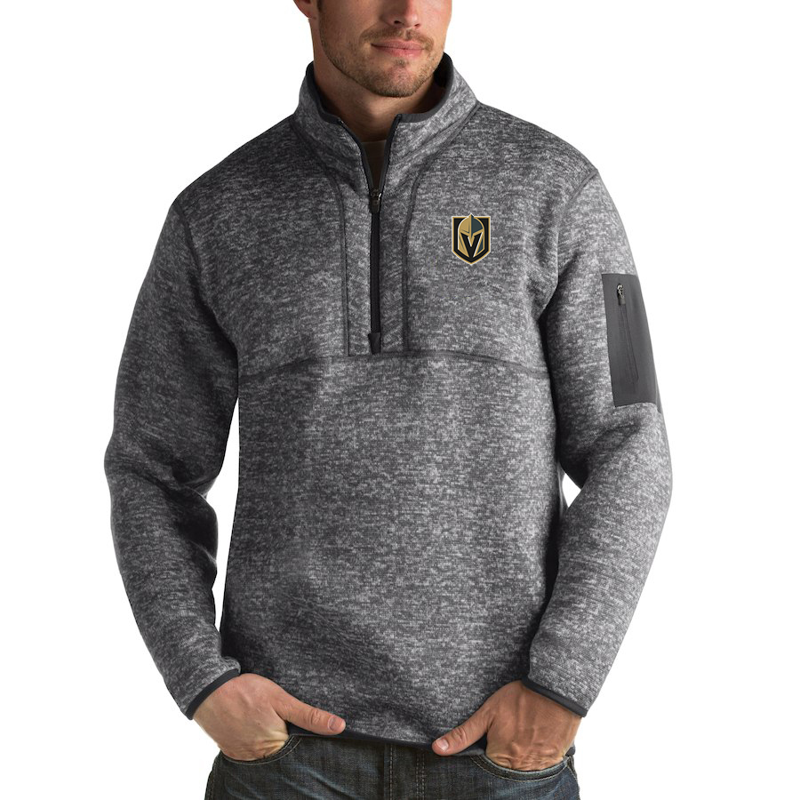Vegas Golden Knights Antigua Fortune Quarter-Zip Pullover Jacket Black