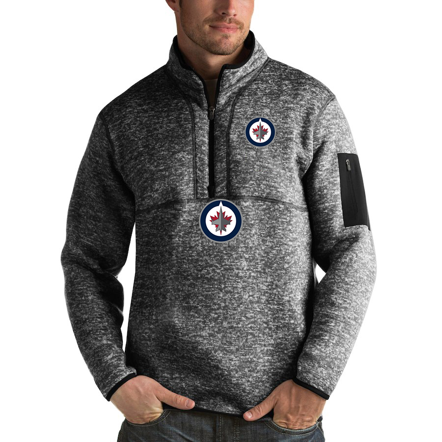 Winnipeg Jets Antigua Fortune Quarter-Zip Pullover Jacket Charcoal