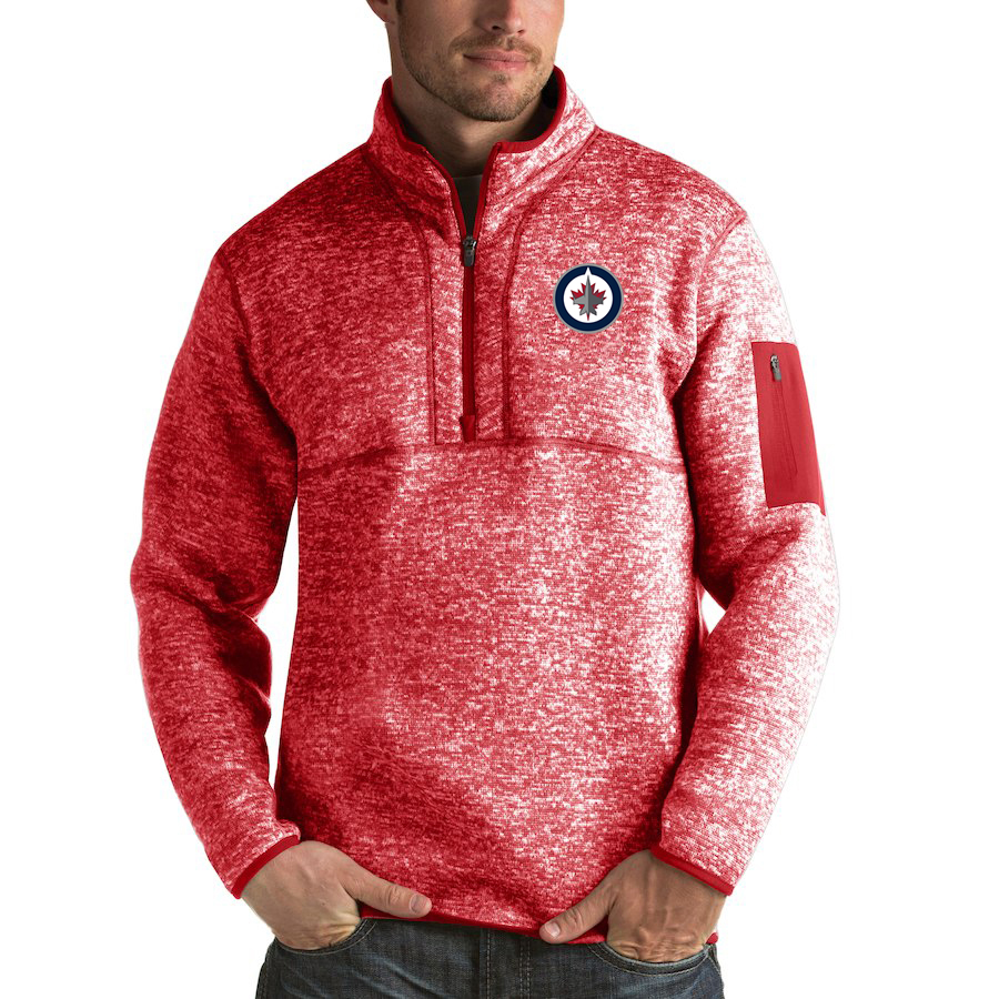 Winnipeg Jets Antigua Fortune Quarter-Zip Pullover Jacket Red