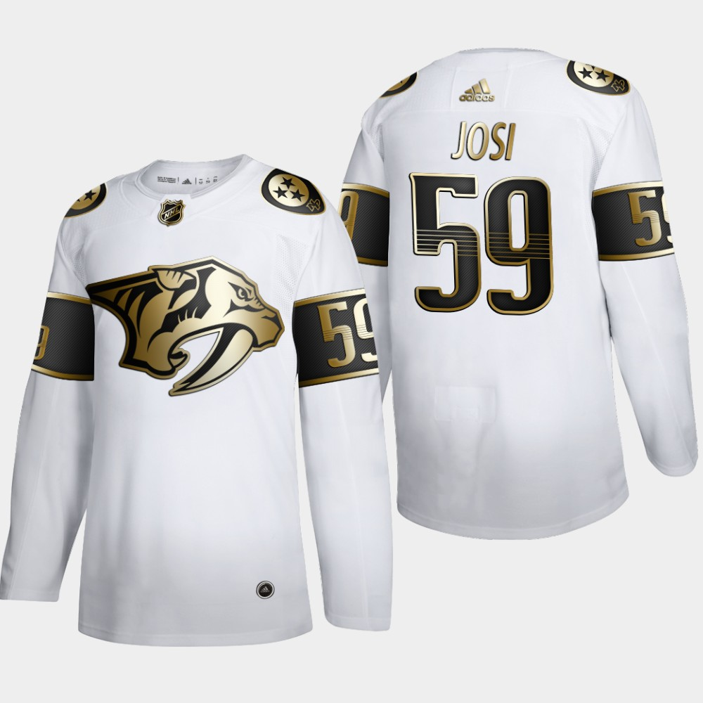Nashville Predators #59 Roman Josi Men's Adidas White Golden Edition Limited Stitched NHL Jersey