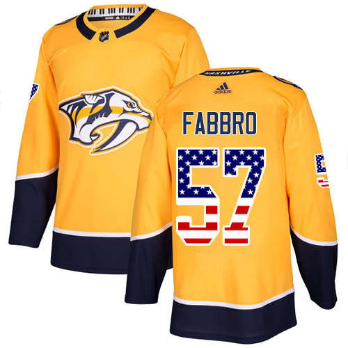 Adidas Predators #57 Dante Fabbro Yellow Home Authentic USA Flag Stitched NHL Jersey