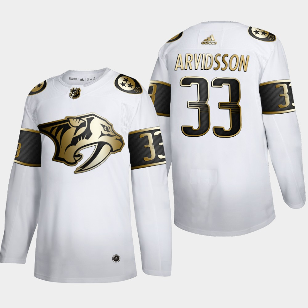 Nashville Predators #33 Viktor Arvidsson Men's Adidas White Golden Edition Limited Stitched NHL Jersey