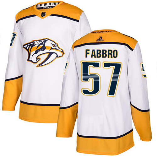 Adidas Predators #57 Dante Fabbro White Road Authentic Stitched NHL Jersey