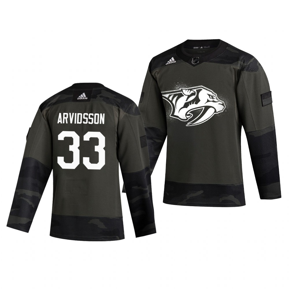 Nashville Predators #33 Viktor Arvidsson Adidas 2019 Veterans Day Men's Authentic Practice NHL Jersey Camo