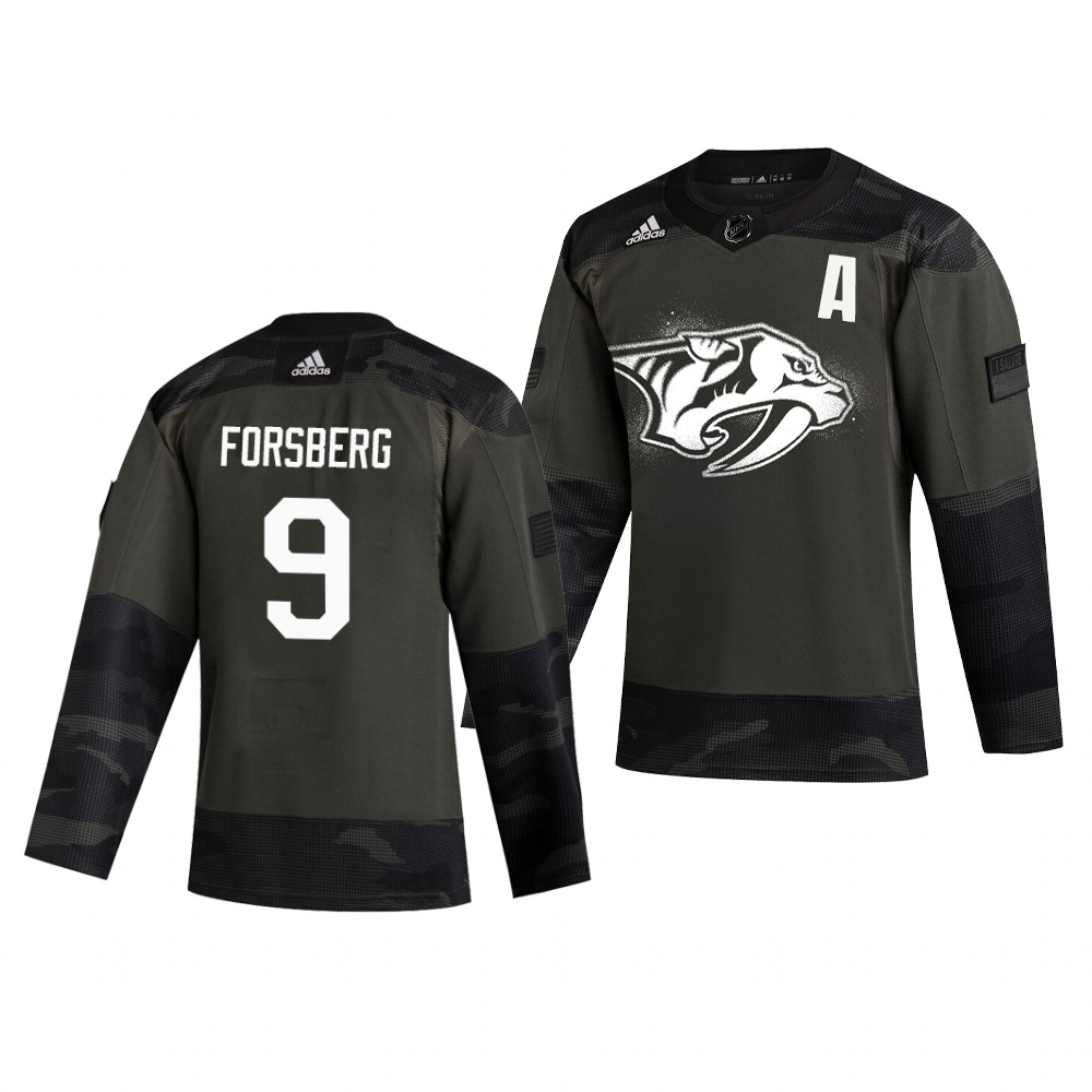 Nashville Predators #9 Filip Forsberg Adidas 2019 Veterans Day Men's Authentic Practice NHL Jersey Camo