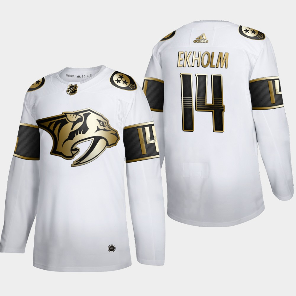 Nashville Predators #14 Mattias Ekholm Men's Adidas White Golden Edition Limited Stitched NHL Jersey
