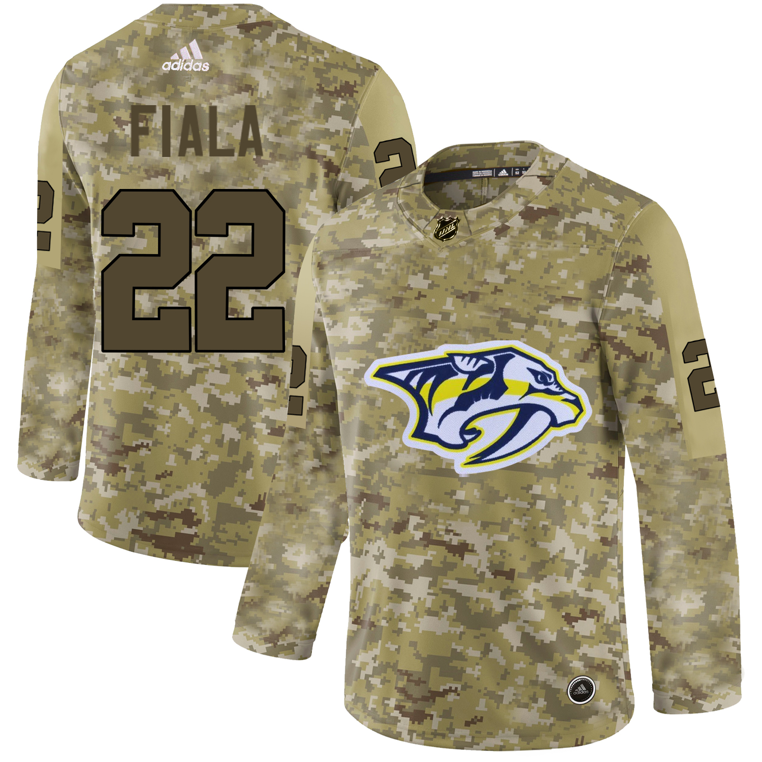 Adidas Predators #22 Kevin Fiala Camo Authentic Stitched NHL Jersey