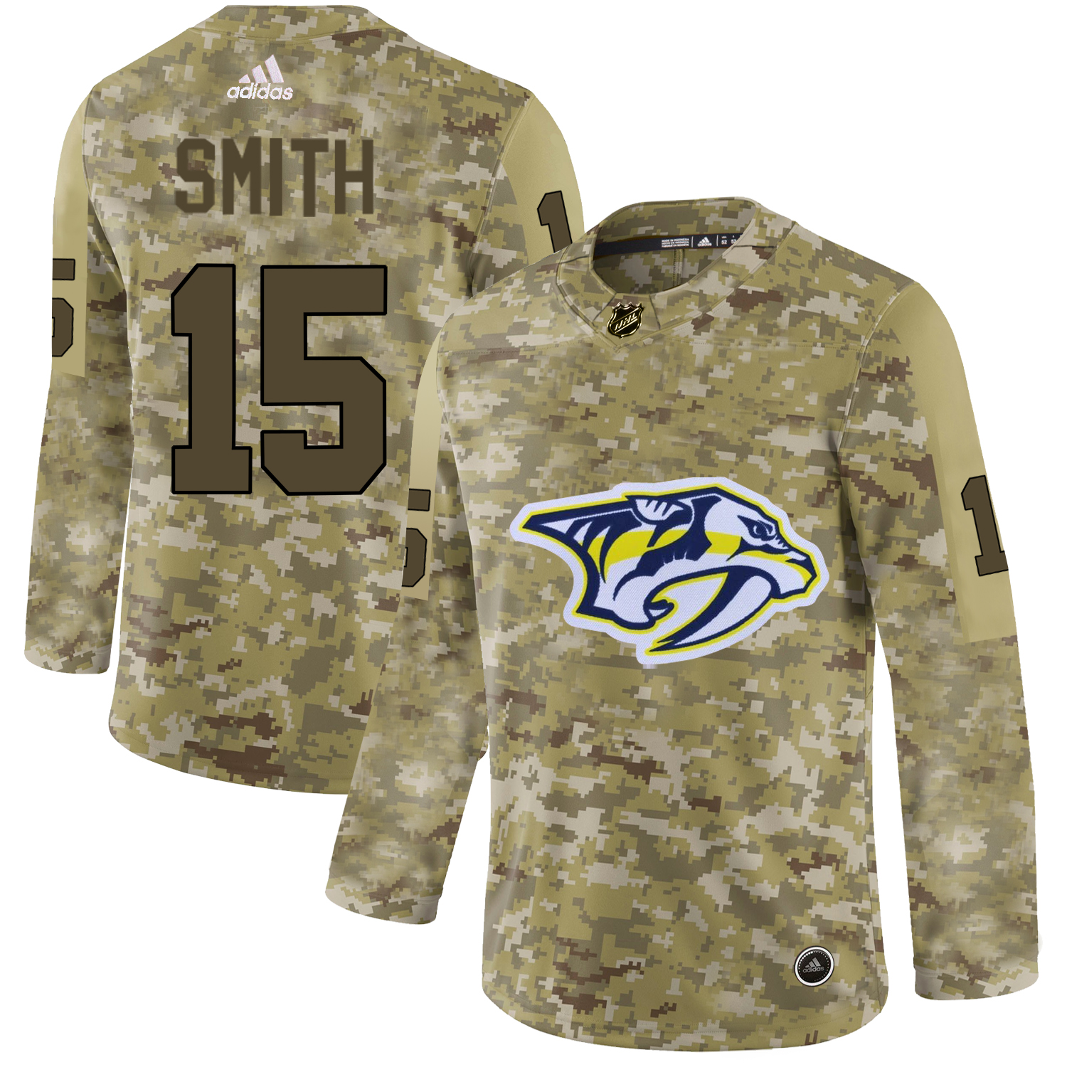 Adidas Predators #15 Craig Smith Camo Authentic Stitched NHL Jersey
