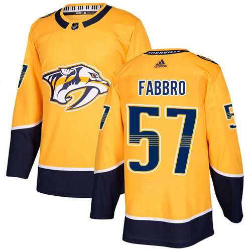 Adidas Predators #57 Dante Fabbro Yellow Home Authentic Stitched NHL Jersey