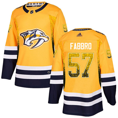 Adidas Predators #57 Dante Fabbro Yellow Home Authentic Drift Fashion Stitched NHL Jersey