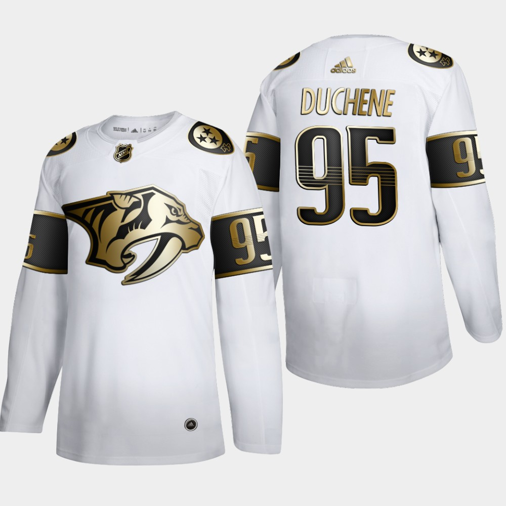 Nashville Predators #95 Matt Duchene Men's Adidas White Golden Edition Limited Stitched NHL Jersey