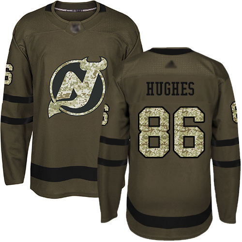 Adidas Devils #86 Jack Hughes Green Salute to Service Stitched NHL Jersey