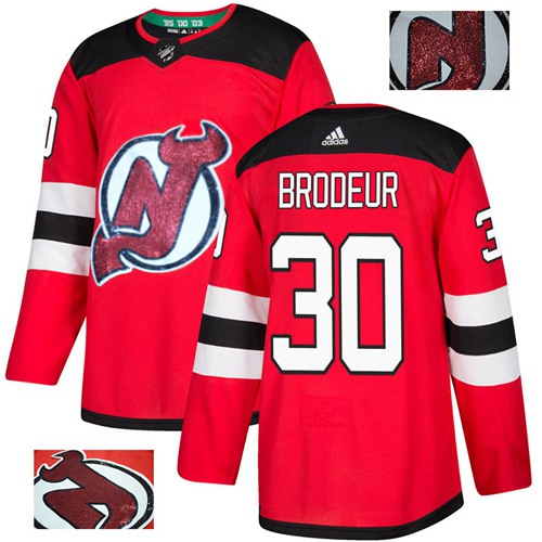 Adidas Devils #30 Martin Brodeur Red Home Authentic Fashion Gold Stitched NHL Jersey
