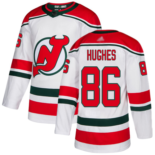 Adidas Devils #86 Jack Hughes White Alternate Authentic Stitched NHL Jersey