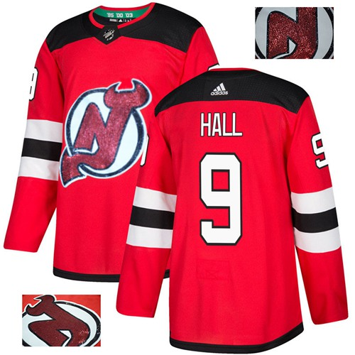 Adidas Devils #9 Taylor Hall Red Home Authentic Fashion Gold Stitched NHL Jersey