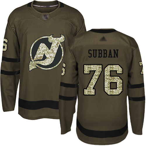 Adidas Devils #76 P.K. Subban Green Salute to Service Stitched NHL Jersey