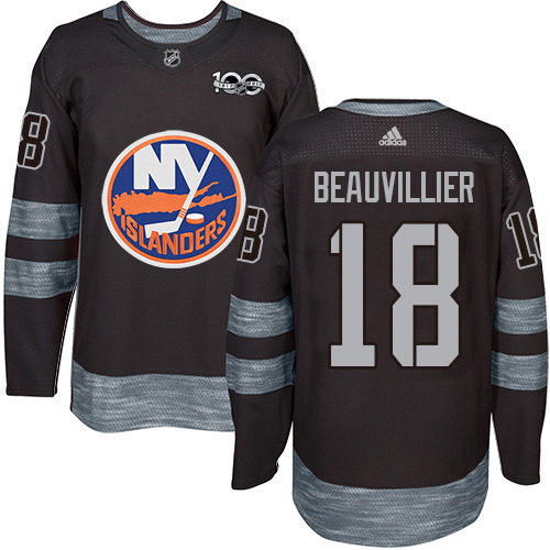 Adidas Islanders #18 Anthony Beauvillier Black 1917-2017 100th Anniversary Stitched NHL Jersey