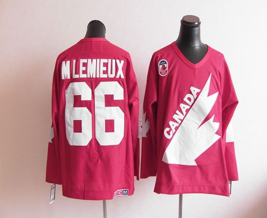 Olympic 1991 CA. #66 Mario Lemieux Red CCM Throwback Stitched NHL Jersey