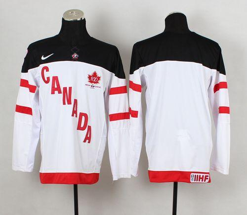 Olympic CA. Blank White 100th Anniversary Stitched NHL Jersey