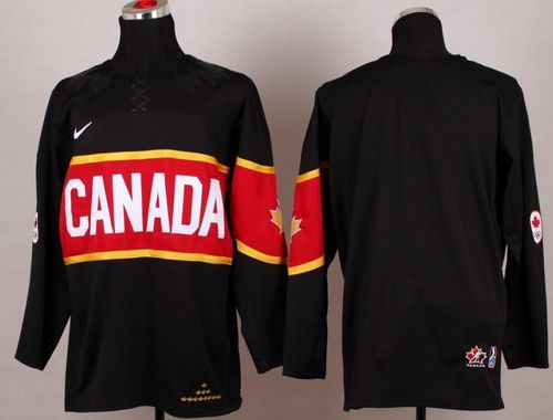 Olympic 2014 CA. Blank Black Stitched NHL Jersey