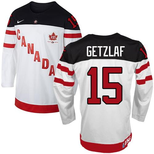 Olympic CA. #15 Ryan Getzlaf White 100th Anniversary Stitched NHL Jersey