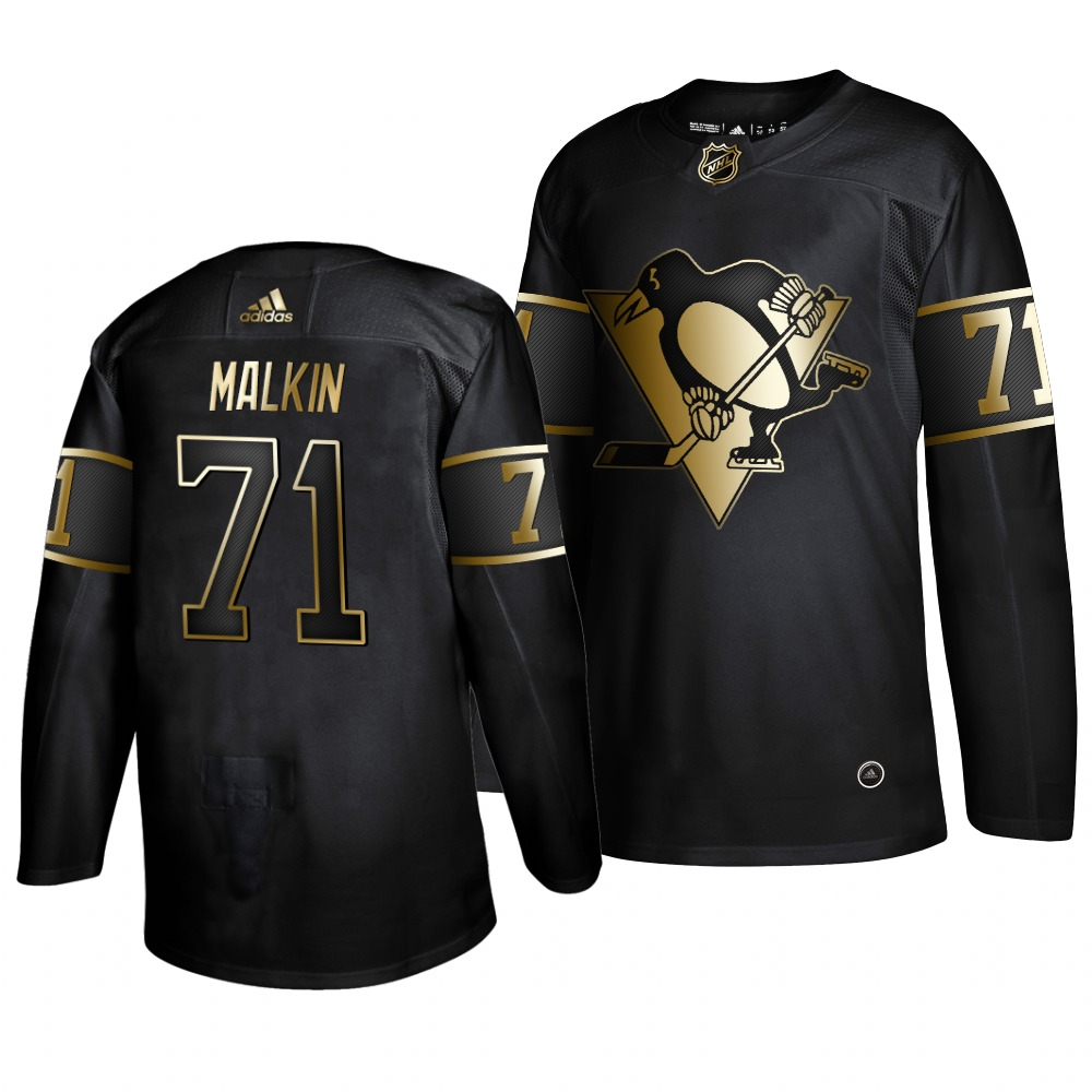Adidas Penguins #71 Evgeni Malkin Men's 2019 Black Golden Edition Authentic Stitched NHL Jersey