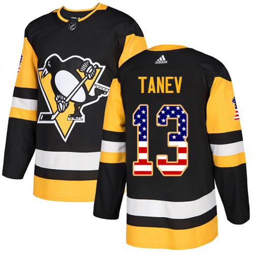Adidas Penguins #13 Brandon Tanev Black Home Authentic USA Flag Stitched NHL Jersey