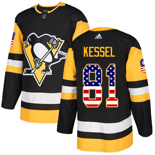 Adidas Penguins #81 Phil Kessel Black Home Authentic USA Flag Stitched NHL Jersey