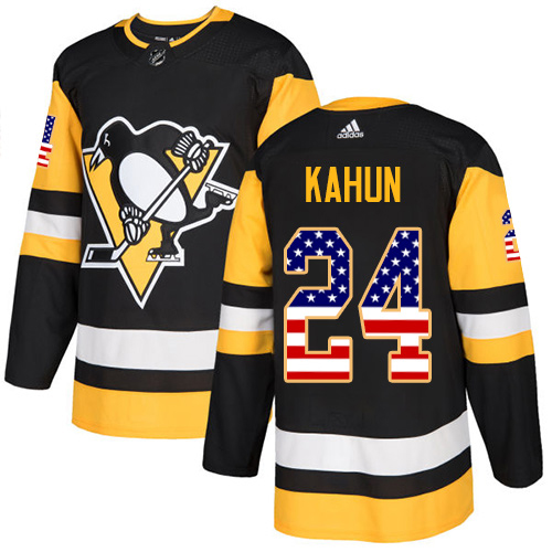 Adidas Penguins #24 Dominik Kahun Black Home Authentic USA Flag Stitched NHL Jersey