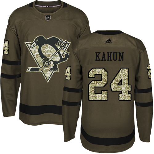 Adidas Penguins #24 Dominik Kahun Green Salute to Service Stitched NHL Jersey