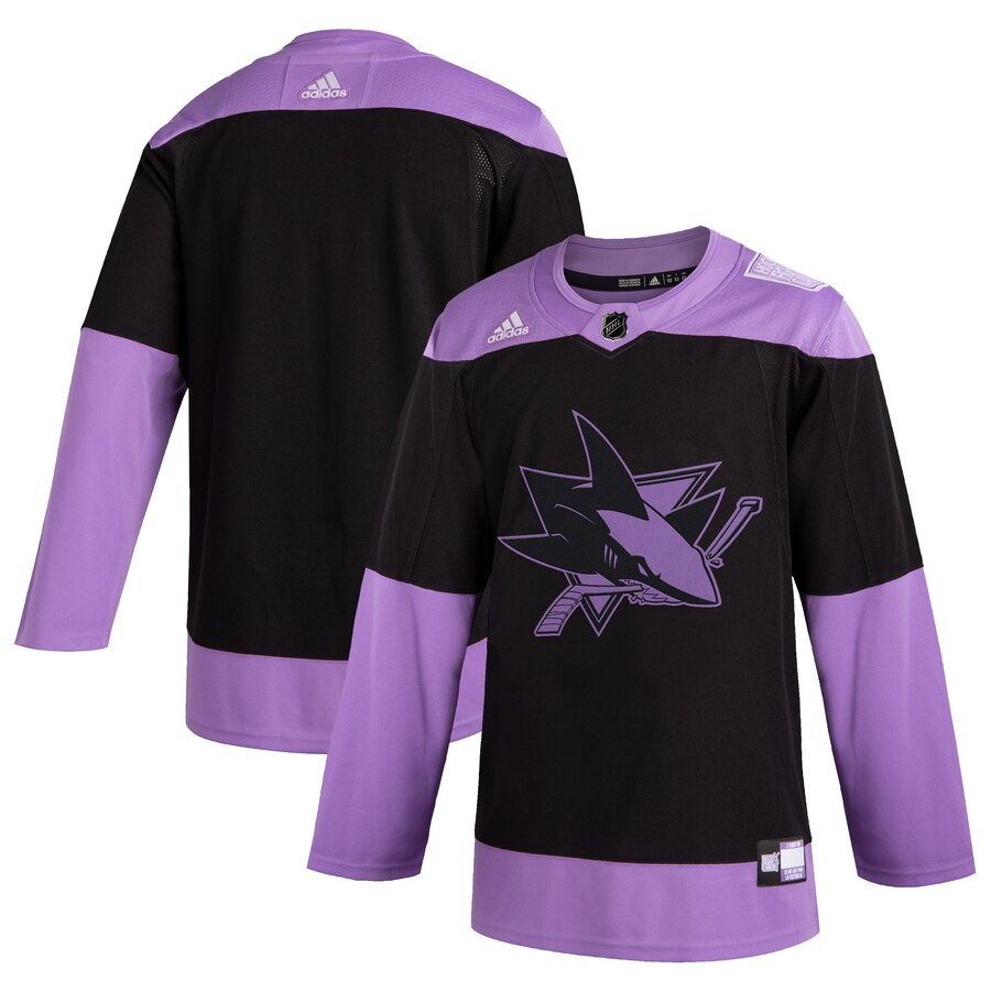 San Jose Sharks Adidas Hockey Fights Cancer Practice Jersey Black