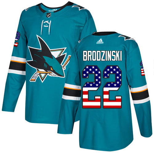 Adidas Sharks #22 Jonny Brodzinski Teal Home Authentic USA Flag Stitched NHL Jersey