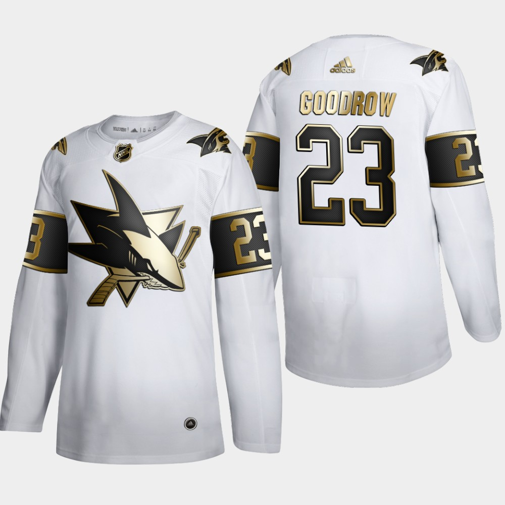 San Jose Sharks #23 Barclay Goodrow Men's Adidas White Golden Edition Limited Stitched NHL Jersey