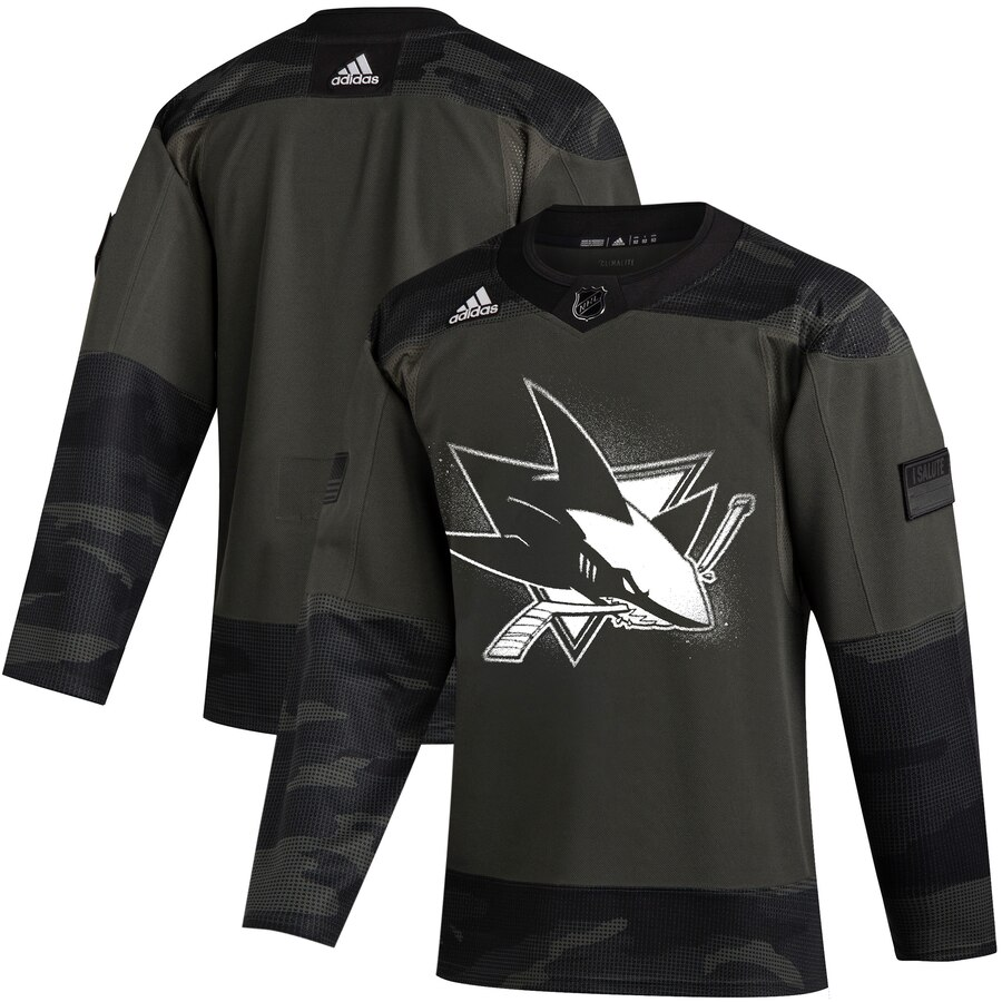 San Jose Sharks Adidas 2019 Veterans Day Authentic Practice NHL Jersey Camo