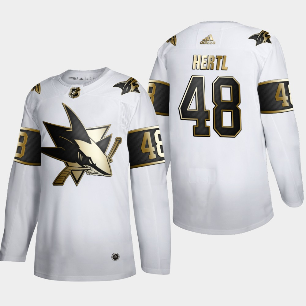 San Jose Sharks #48 Tomas Hertl Men's Adidas White Golden Edition Limited Stitched NHL Jersey