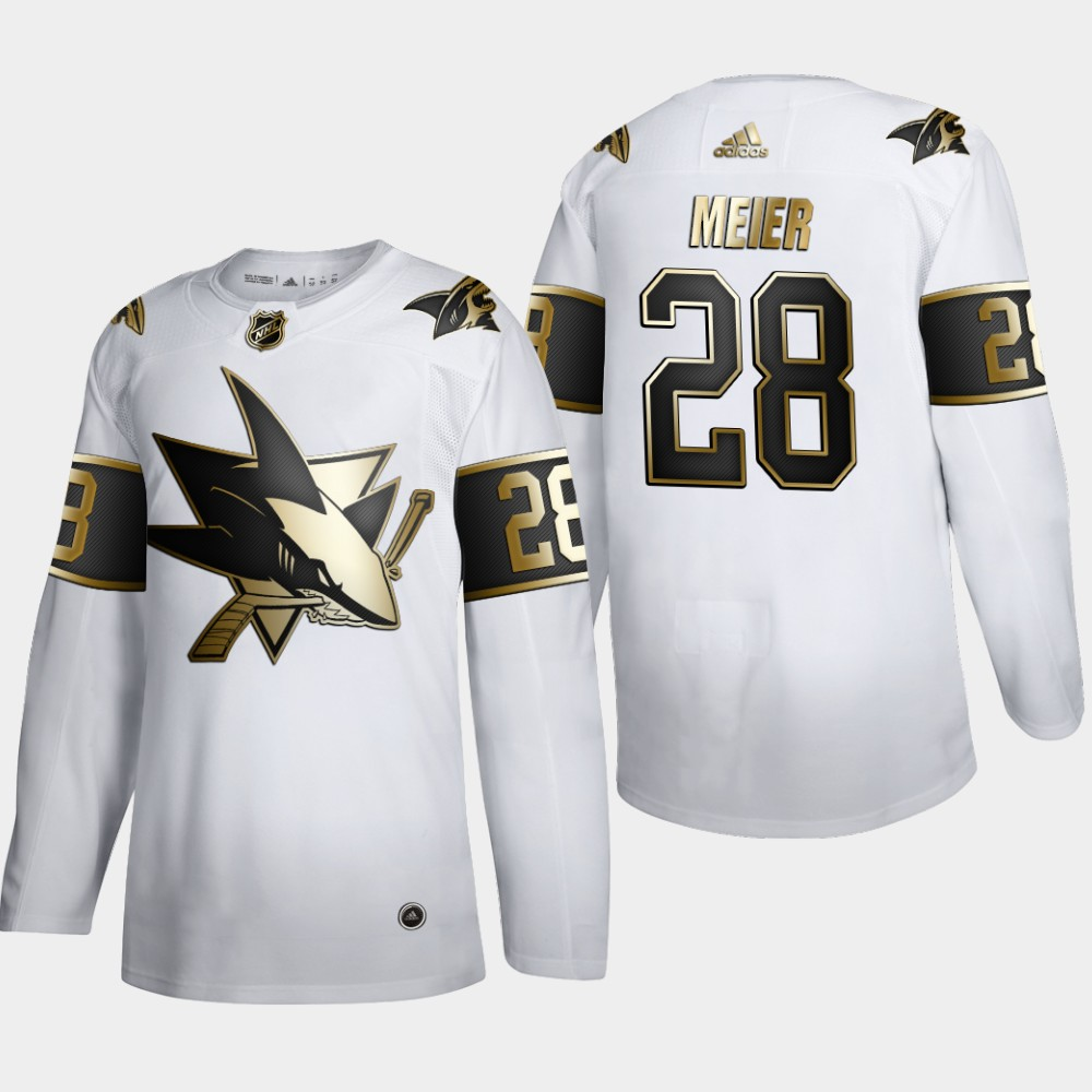 San Jose Sharks #28 Timo Meier Men's Adidas White Golden Edition Limited Stitched NHL Jersey