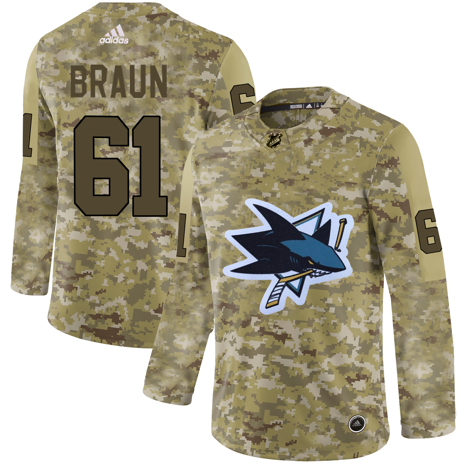 Adidas Sharks #61 Justin Braun Camo Authentic Stitched NHL Jersey