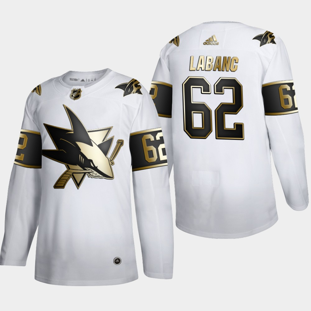 San Jose Sharks #62 Kevin Labanc Men's Adidas White Golden Edition Limited Stitched NHL Jersey
