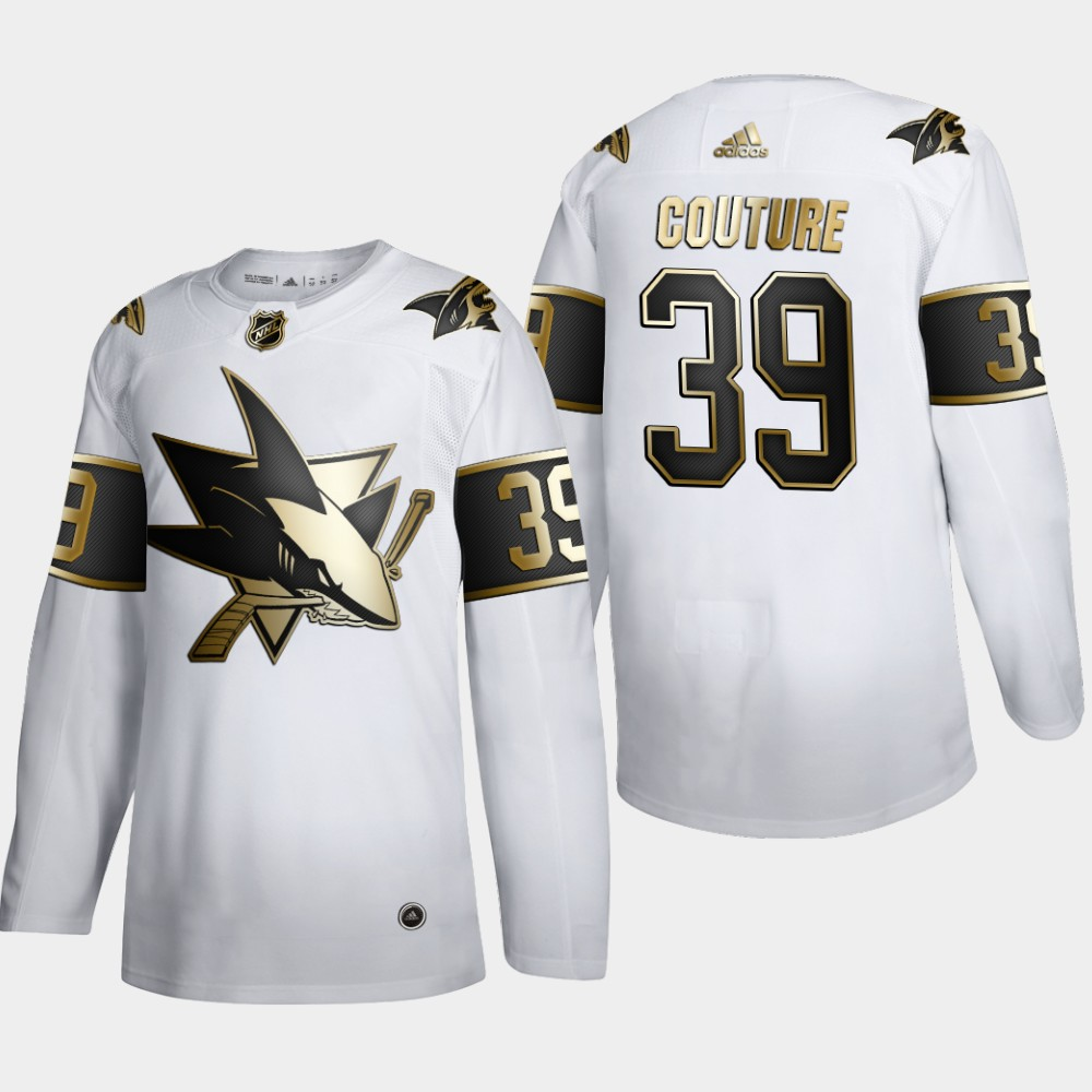 San Jose Sharks #39 Logan Couture Men's Adidas White Golden Edition Limited Stitched NHL Jersey