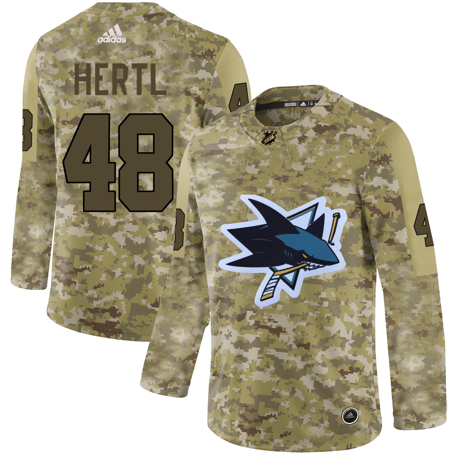Adidas Sharks #48 Tomas Hertl Camo Authentic Stitched NHL Jersey