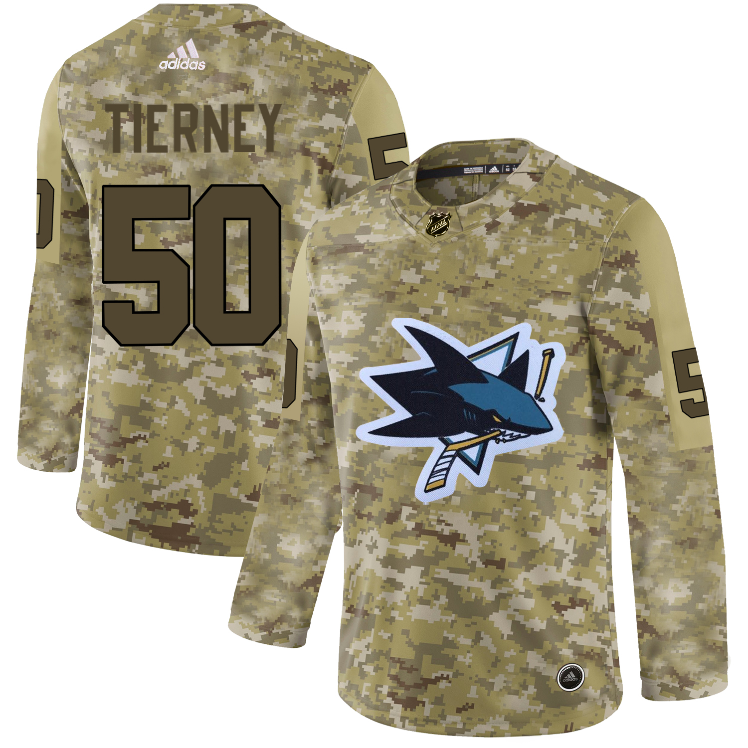 Adidas Sharks #50 Chris Tierney Camo Authentic Stitched NHL Jersey
