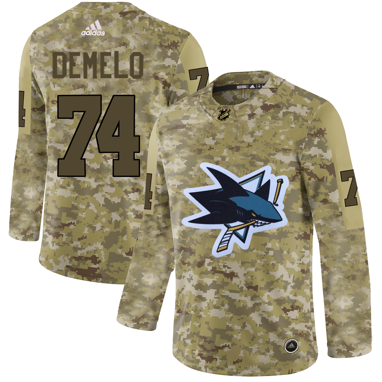 Adidas Sharks #74 Dylan DeMelo Camo Authentic Stitched NHL Jersey