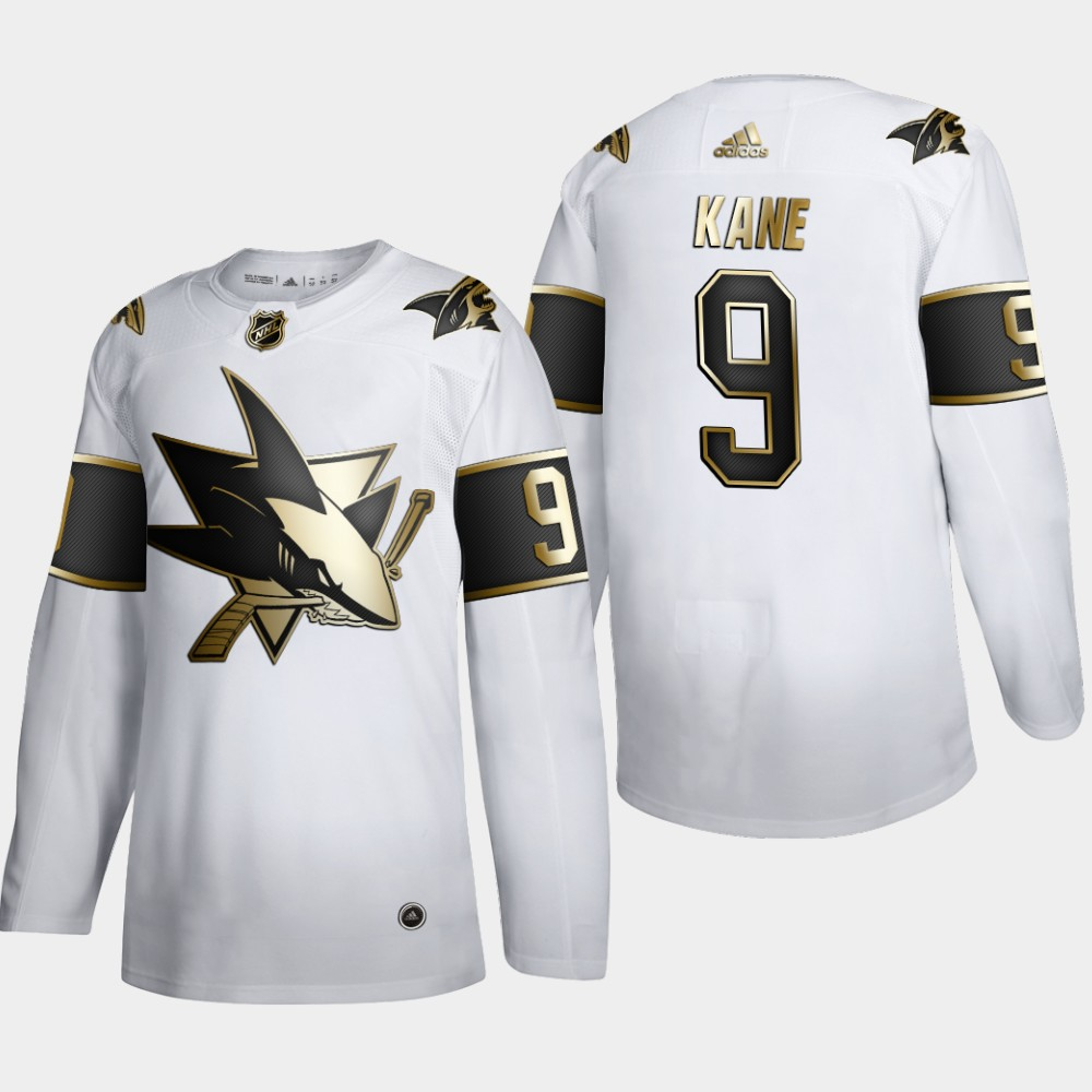 San Jose Sharks #9 Evander Kane Men's Adidas White Golden Edition Limited Stitched NHL Jersey