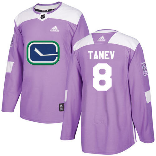 Adidas Canucks #8 Christopher Tanev Purple Authentic Fights Cancer Stitched NHL Jersey