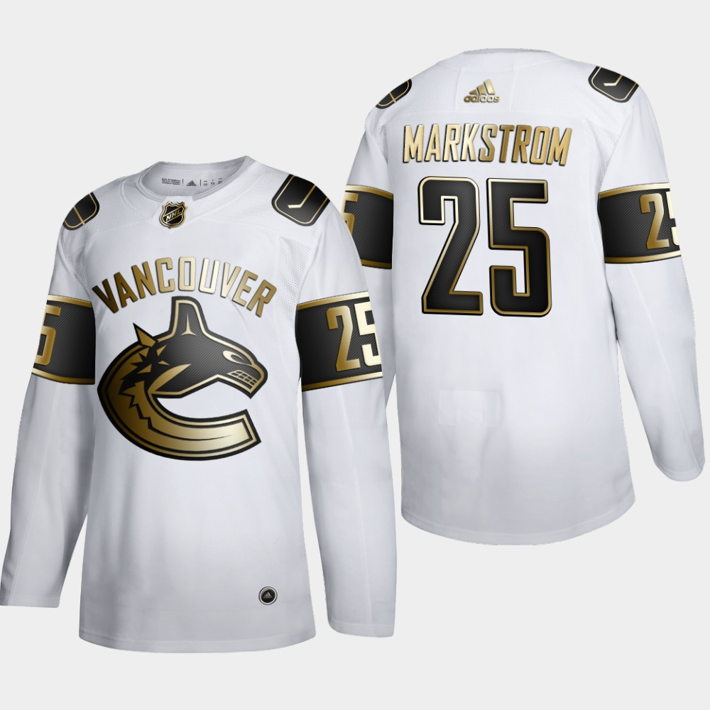 Vancouver Canucks #25 Jacob Markstrom Men's Adidas White Golden Edition Limited Stitched NHL Jersey
