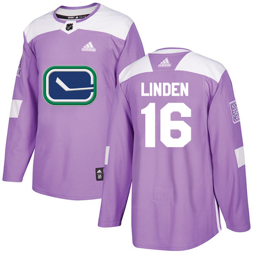 Adidas Canucks #16 Trevor Linden Purple Authentic Fights Cancer Stitched NHL Jersey