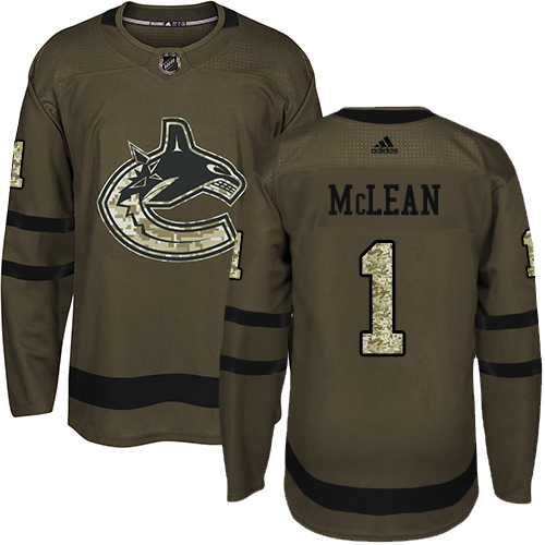 Adidas Canucks #1 Kirk Mclean Green Salute to Service Stitched NHL Jersey